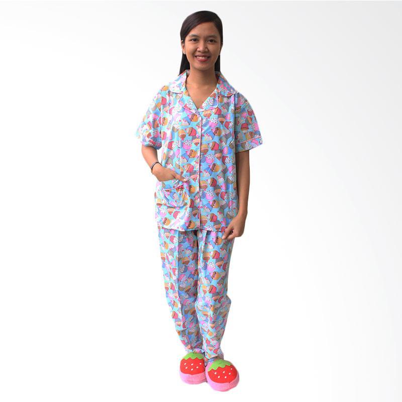 Aily SL015 Setelan Baju Tidur Piyama Wanita - Biru