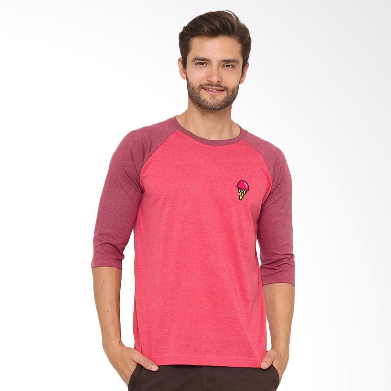17SEVEN Original Reglan Twotone T-shirt Pria - Red Brick