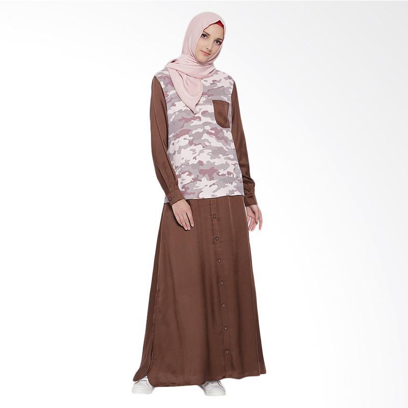 Irna Mutiara Safari Army Line Dress Muslim - Brown Pink