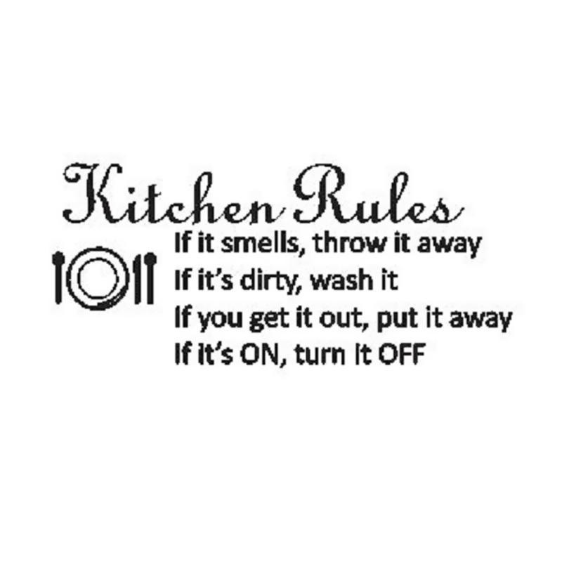 OEM Quotes Kitchen Rules Stiker Dekorasi Dinding Dapur Rumah Wall Sticker