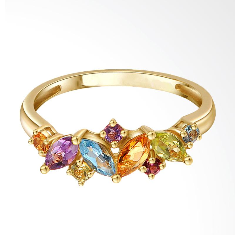 Tiaria Flawless Gems Yellow Gold Perhiasan Emas Cincin [18K]