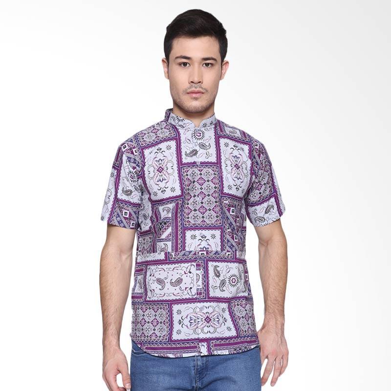 Days by Danarhadi Men Kotak Asimetris Colarless Menshirt Batik Pria - Dark Purple