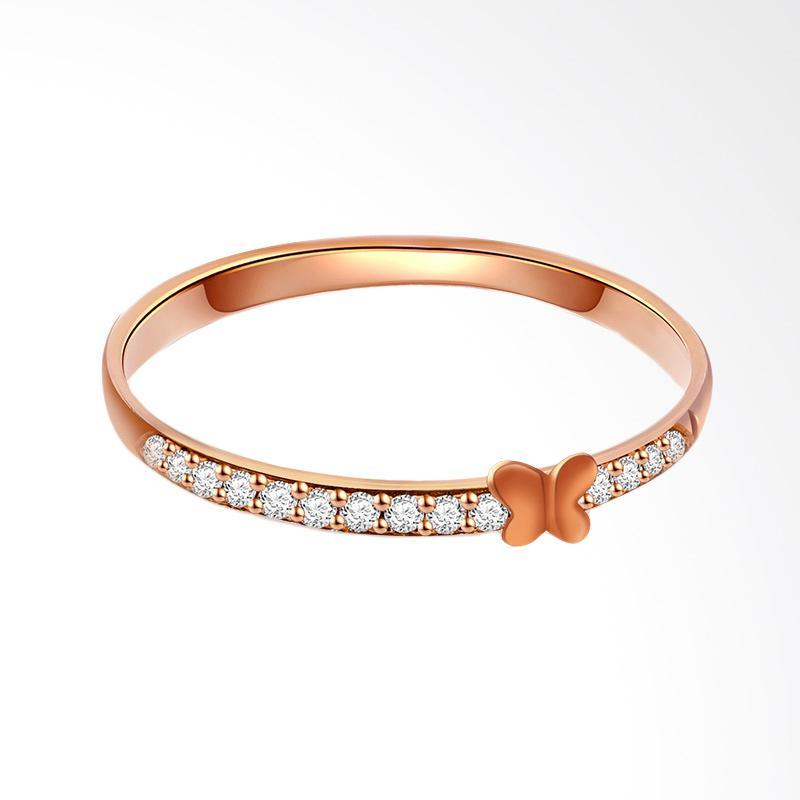 Tiaria 18K Eternal Butterfly Ring Perhiasan Emas Cincin Wanita