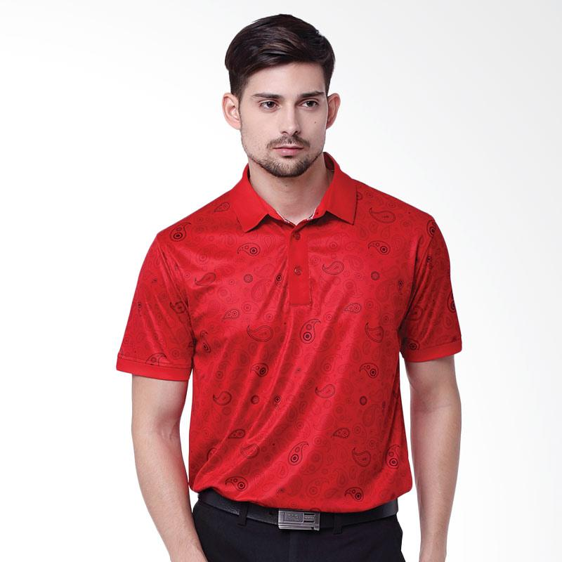Svingolf Paisley Polo Golf Kaos Pria - Flag Red