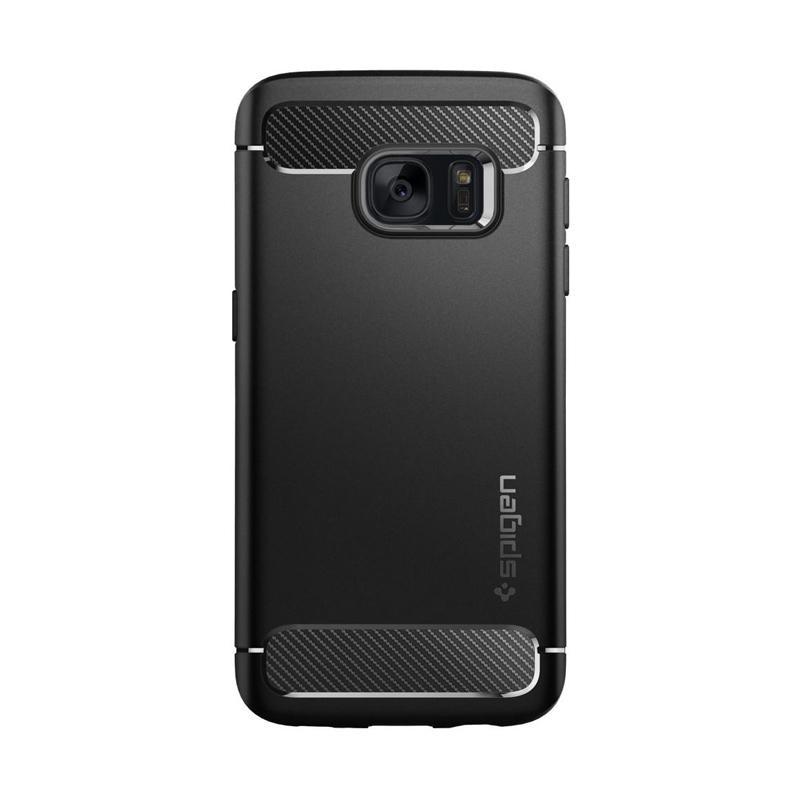 Spigen Rugged Armor Carbon Fiber Design Casing for Samsung Galaxy S7 2016 - Black
