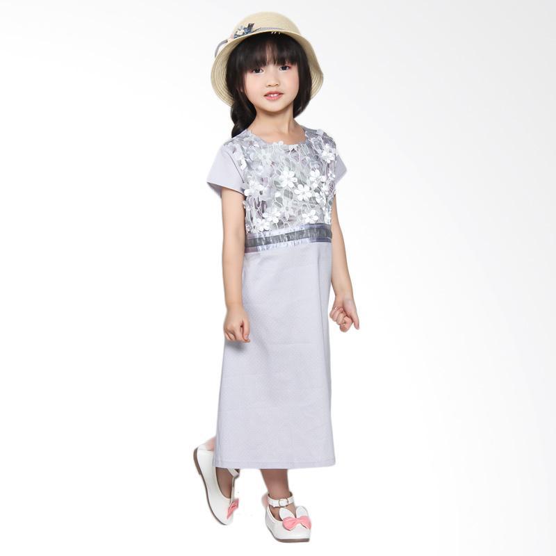 harga Versail S7329 Kids Junior Kombinasi Bunga Brukat Dress - Gray Blibli.com