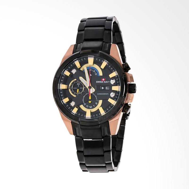 Swiss Navy Man Black Dial Stainless Steel Jam Tangan Pria - Black 8303MABRG