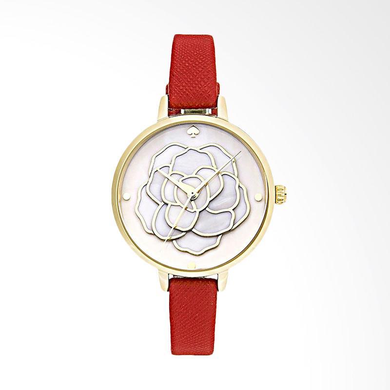 Kate Spade KSW1183 Metro Mother of Pearl Dial Red Leather Strap Jam Tangan Wanita - Red