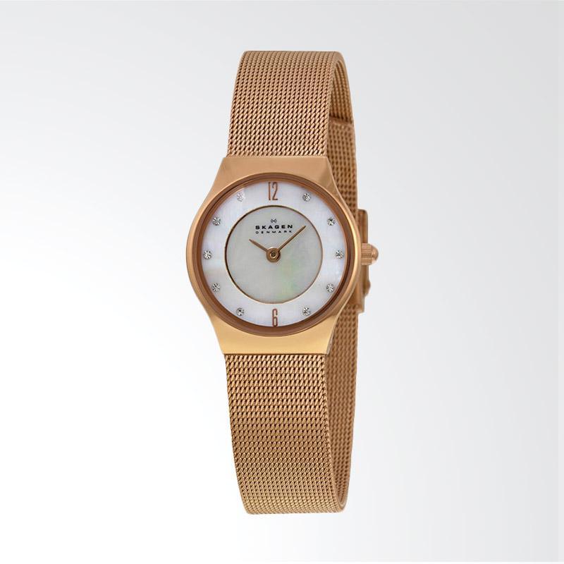 Skagen 233XSRR Slimline Pearl Dial Rose Gold Stainless Steel Strap Watch Jam Tangan Wanita - Rose Gold
