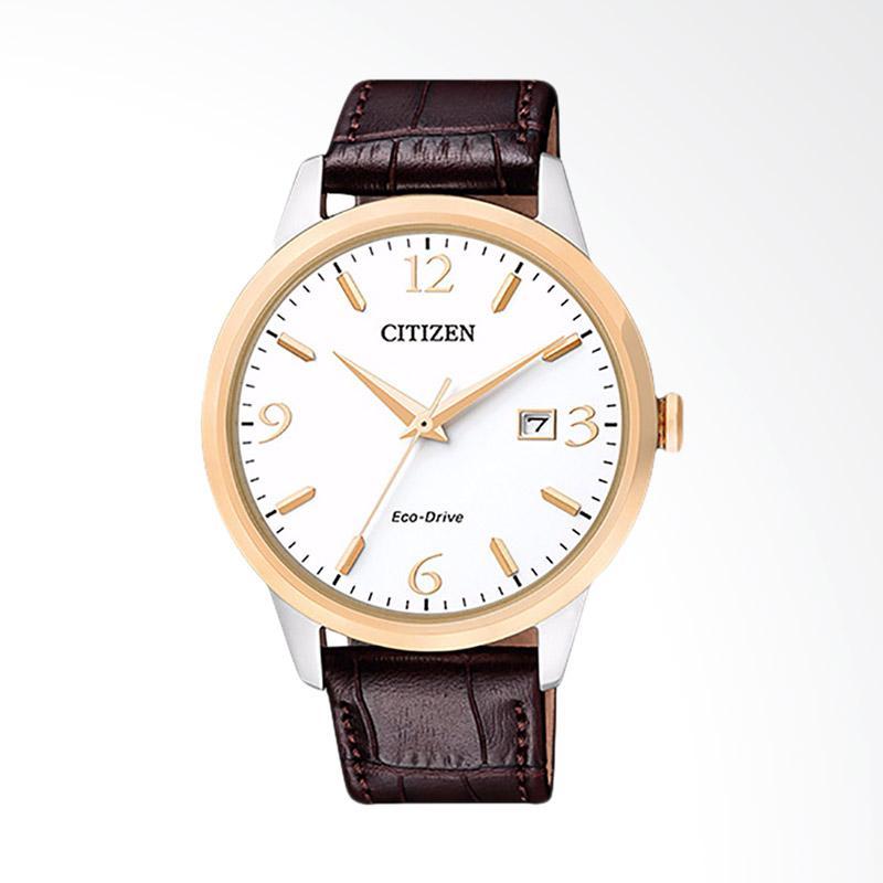 Citizen Men Eco-Drive Sapphire White Dial Brown Leather Strap Jam Tangan Pria - Brown BM7304-16A