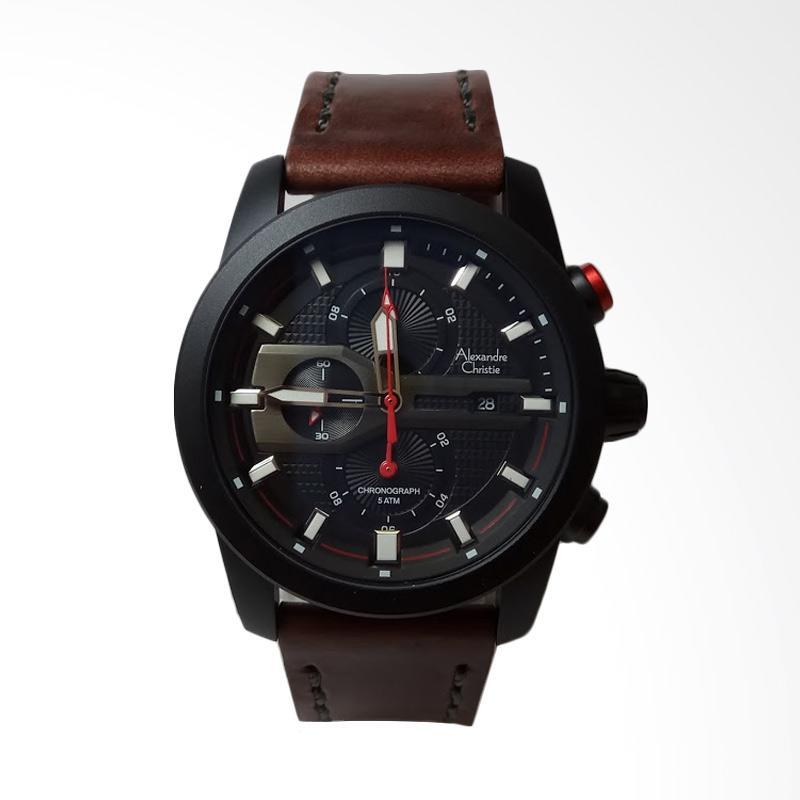 harga Alexandre Christie Chronograph Stainless Steel Leather Strap Jam Tangan Pria - Black Brown AC6270MC Blibli.com