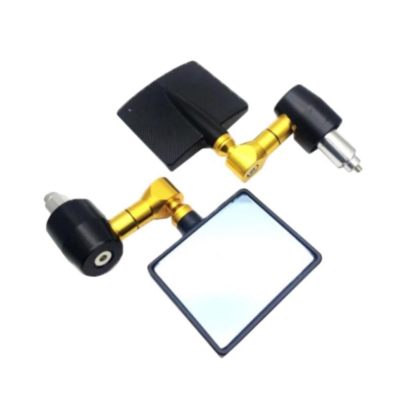Raja Motor Kotak CNC Kaca Biru Cembung Spion Jalu - Hitam Gold [SPI9123-Hitam-Gold]