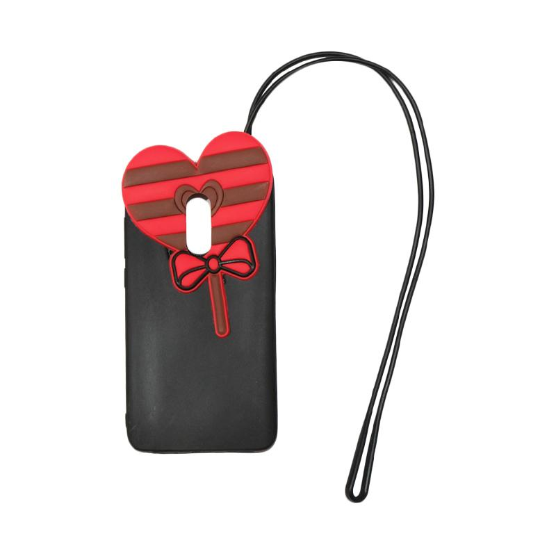 QCF 4D Karakter Candy Love Edition Silikon Softcase with Kalung Tali Gantungan Casing for Xiaomi Redmi Note 4 - Hitam