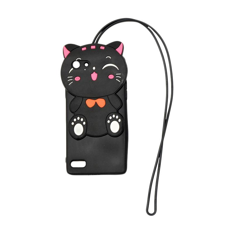 QCF Softcase 4D Silikon Case 4D Karakter Kucing Lucky Cat Edition Silikon Softcase with Kalung Tali Gantungan Casing for Oppo A33 / Neo 7 - Black
