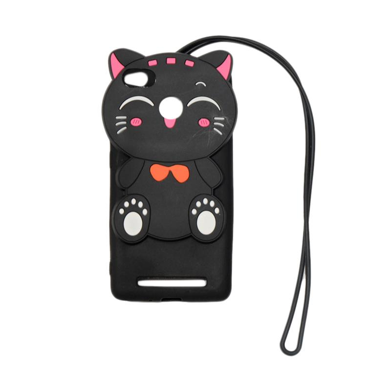 QCF Softcase 4D Silikon Case 4D Karakter Kucing Lucky Cat Edition Silikon Softcase with Kalung Tali Gantungan Casing for Xiaomi Redmi 3 Pro - Black