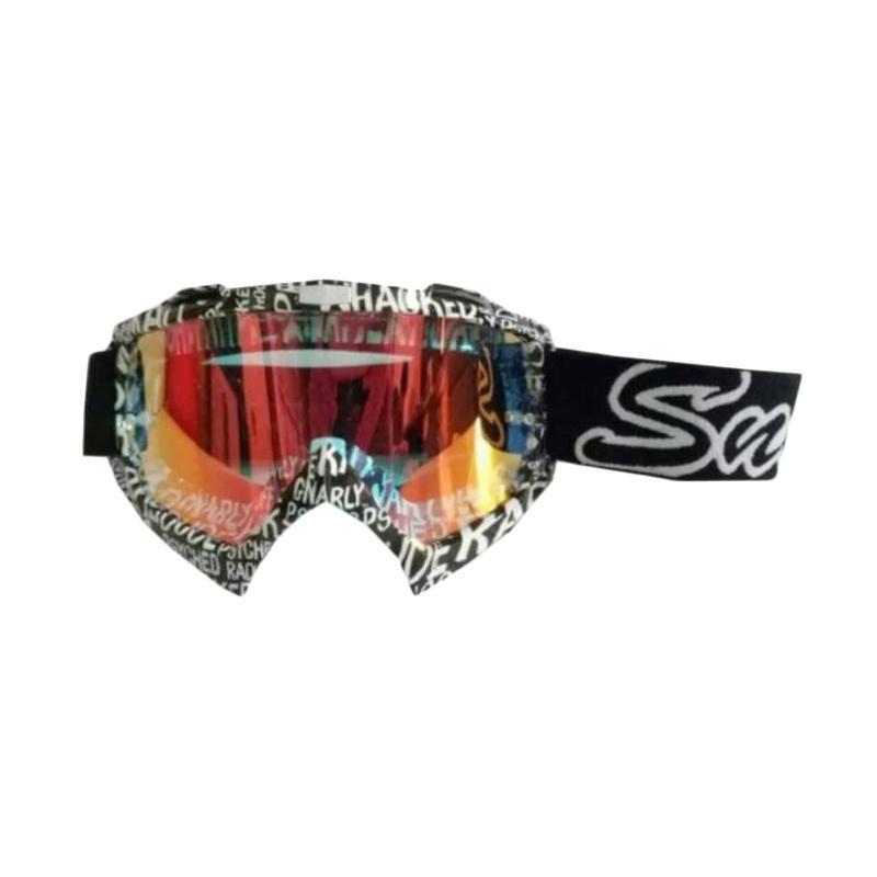 Snail Kaca Pelangi MX18 Goggles Kacamata Cross - Motif Mural Hitam [KMT6080Pelangi-MuralHitamPutih]