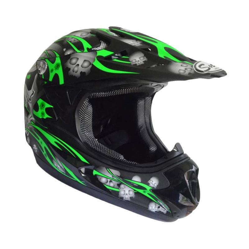 Snail Helmet Motif Tengkorak MX306 Youth Helm Motocross Anak - Hitam/Hijau Doff