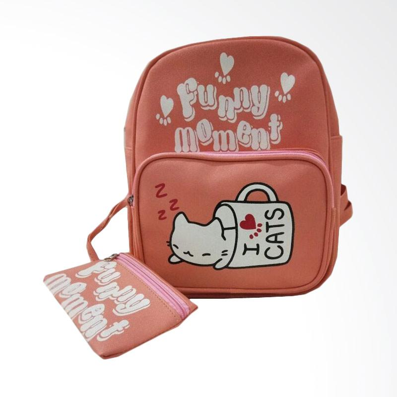 Chloebaby Shop S326 Cat Funny Kanvas Tas Ransel Bag - Orange