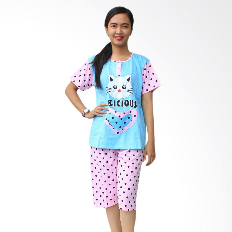 Aily SL041 Setelan Baju Tidur Wanita Celana Pendek - Biru
