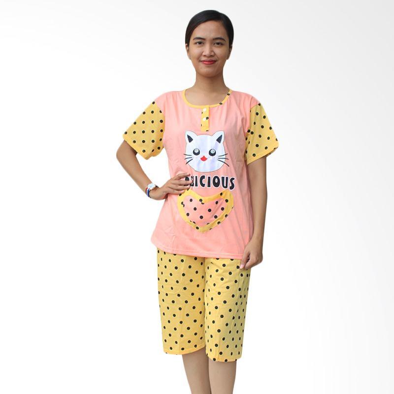 Aily SL041 Setelan Baju Tidur Wanita Celana Pendek - Peach