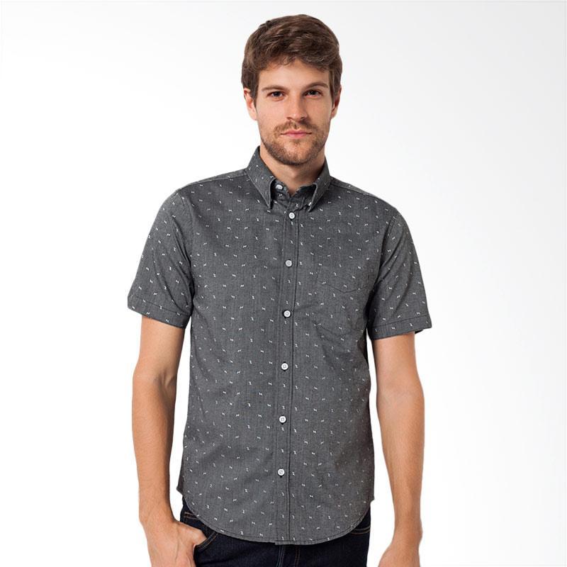 A&D Fashion Mens Shirt Short Sleeve Atasan Pria - Grey [MS 722B]
