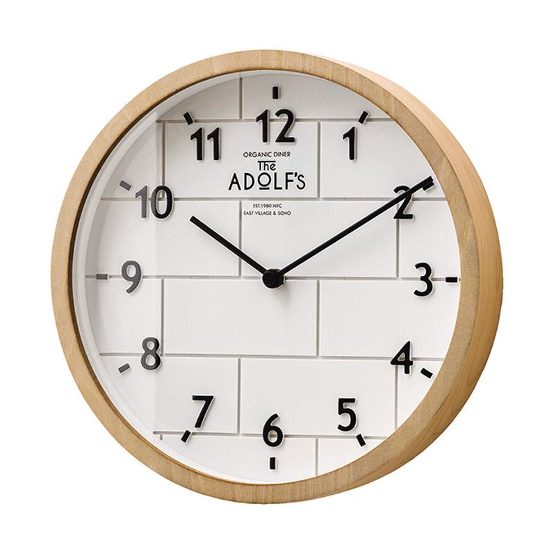 Zeller Life Round Simple Brick Style Lclif Modern Home Decor Wall Clock - White