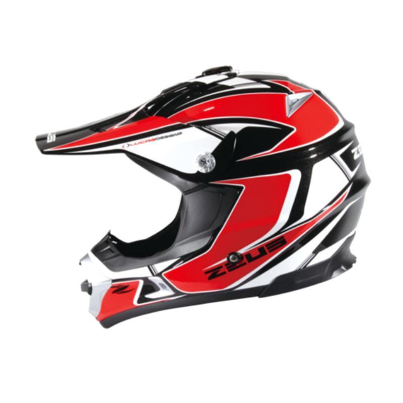 Zeus ZS-951 Motocross Grafik Helm Full Face - Hitam RR11 Merah