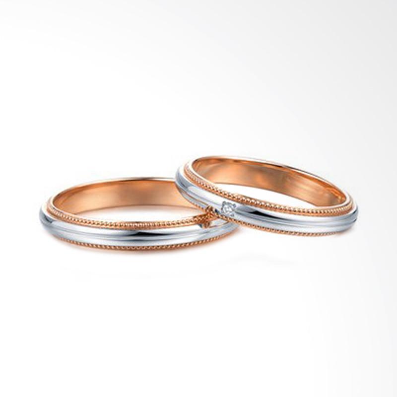 Tiaria Love Miller Perhiasan Emas Berlian Cincin Pernikahan [18K]