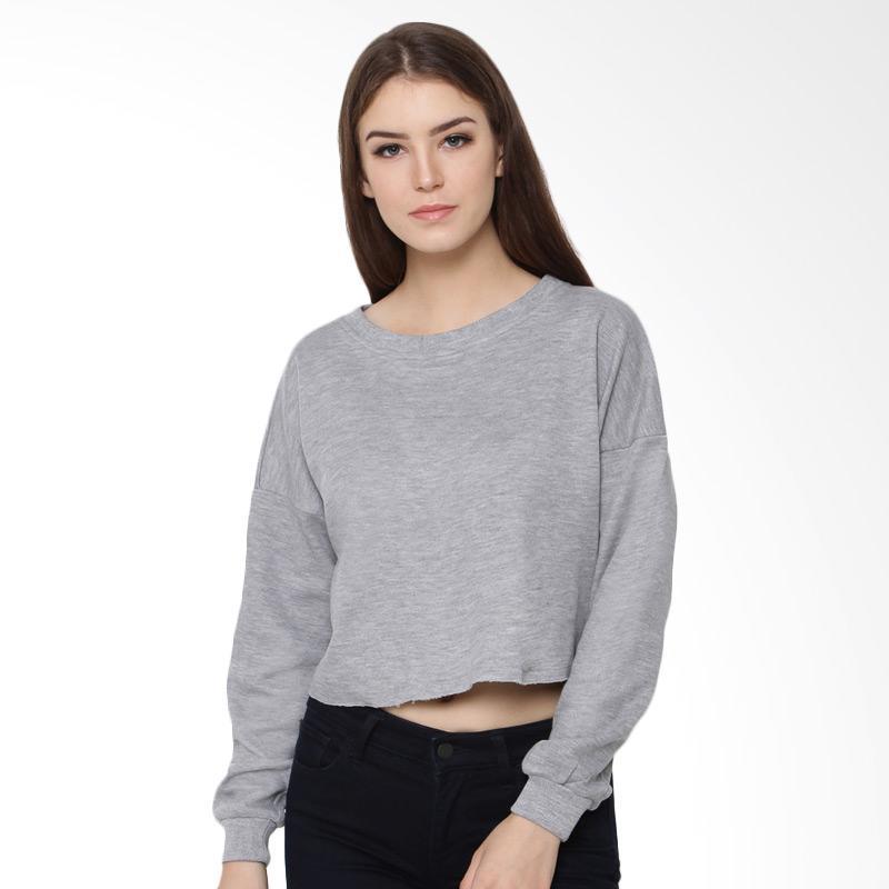 Heart and Feel 1252.B Unfinished Sweatshirt Atasan Wanita - Grey