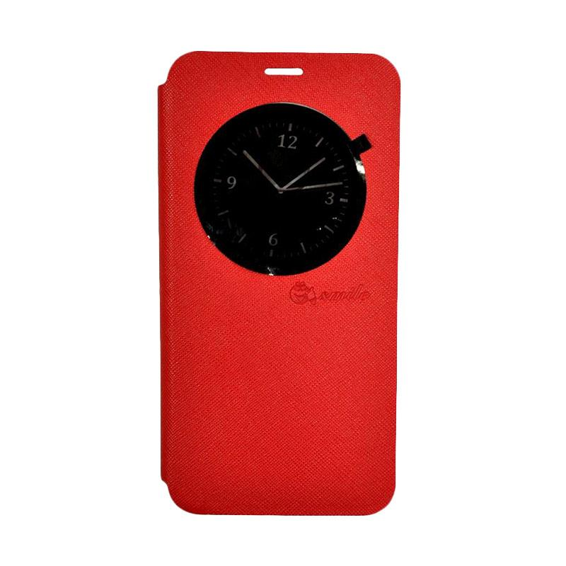 SMILE Leather Standing Flip Cover Casing for LG K8 - Red