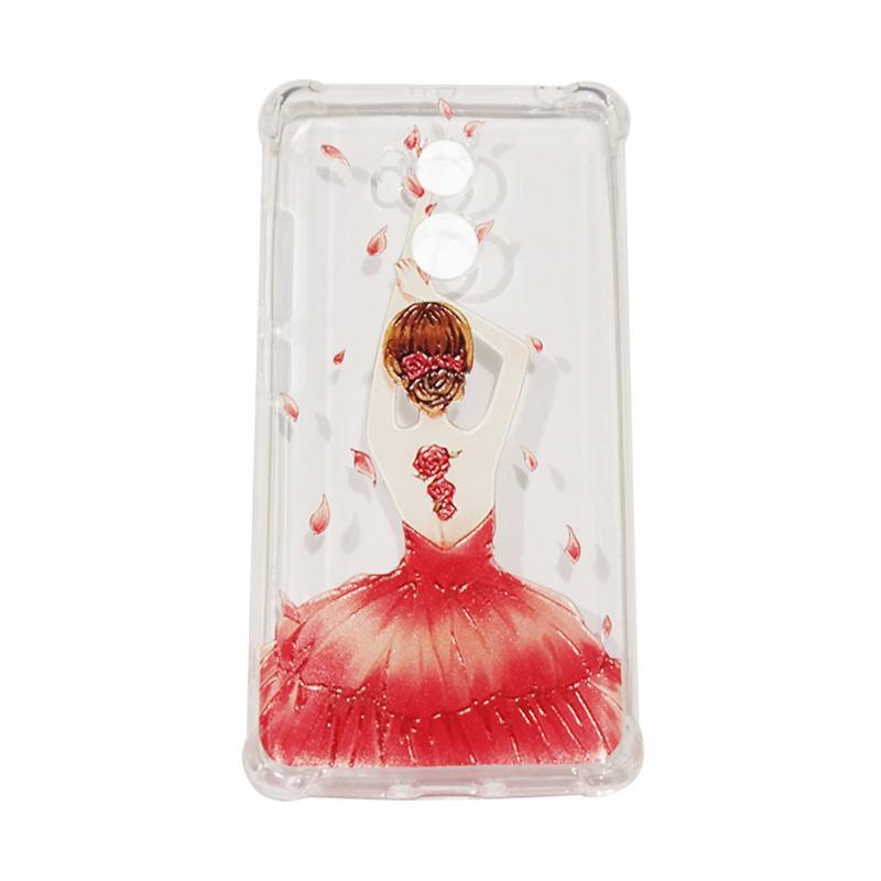QCF Softcase Anti Crack Anti Shock Xiaomi Silicone Casing Gambar Wanita Gaun Merah + FREE Bumper Karet Animasi Random for Xiaomi Redmi 4 Prime