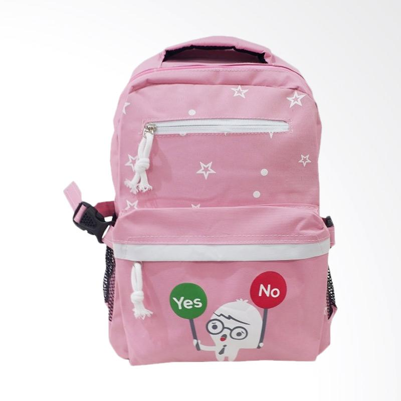 Chloebaby Shop S316 Kanvas Backpack Anak - Pink