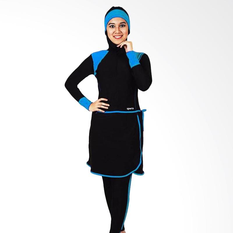 SPORTE Set Pakaian Renang Wanita Muslimah - Hitam Biru [SM 27]