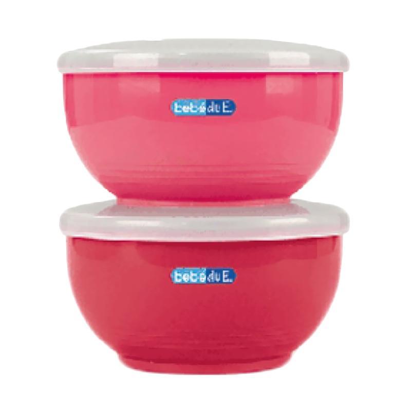 BabyCup Bebedue Stainless Steel Bowl Set Peralatan Makan Anak - Pink