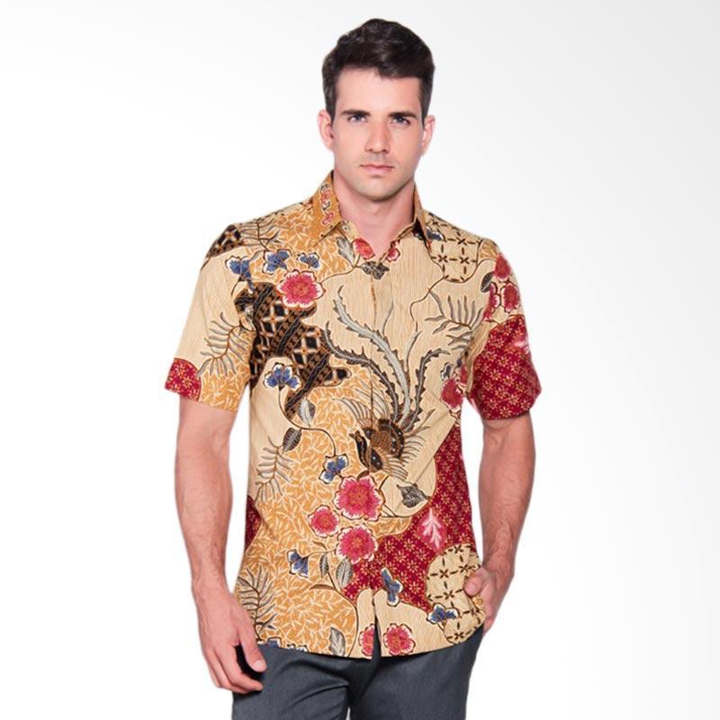Batik Heritage Katun Premium Cendrawasih Pendek Kemeja Pria Lengan Pendek - Merah