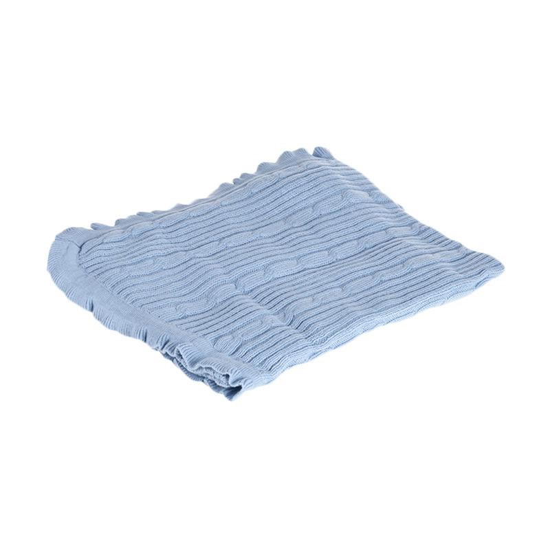 Browko Baby BCB-201017-199 Baby Blanket Rajut With Braided Line Outlook Selimut Bayi - Blue Muda