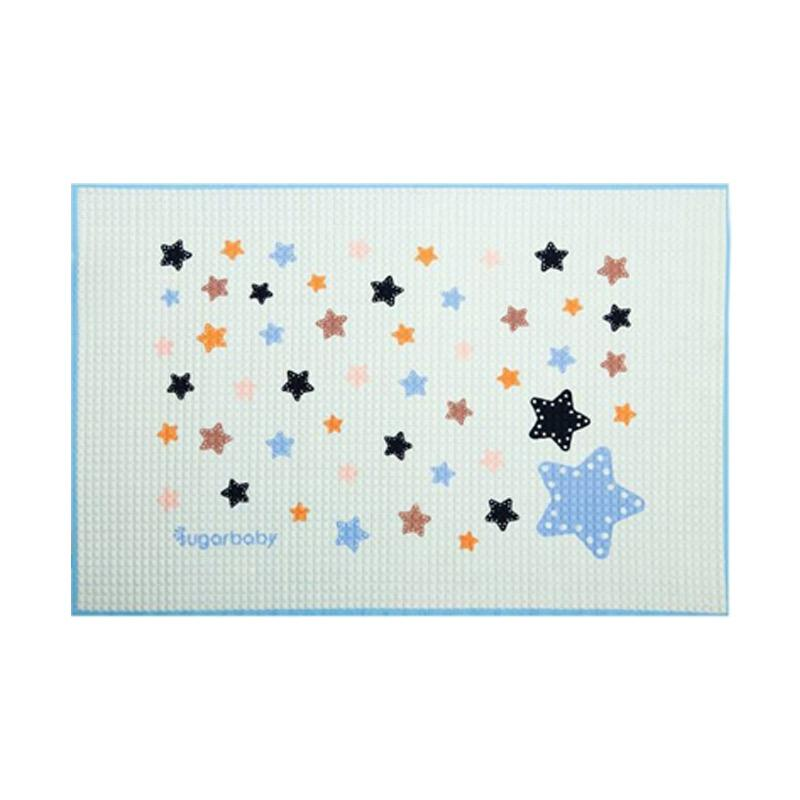 Sugar Baby Organic Healthy Cot Sheet Star Size 90 x 60cm Color Blue