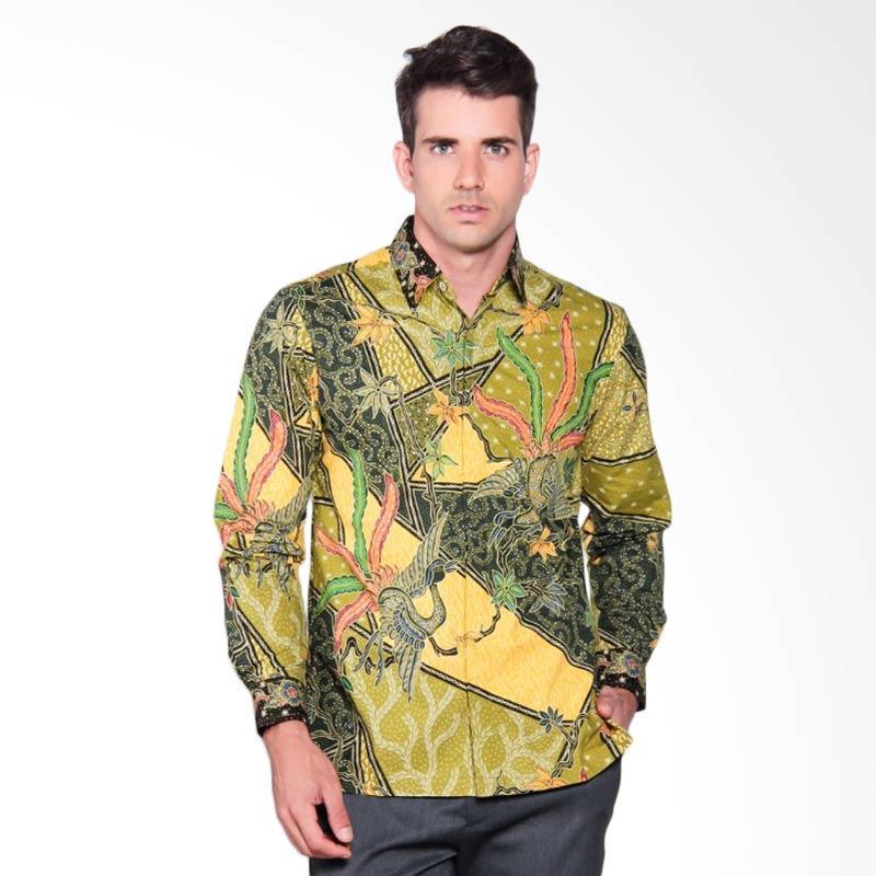 Batik Heritage Katun Premium Triangle Peacock Panjang Kemeja Batik Pria - Hijau