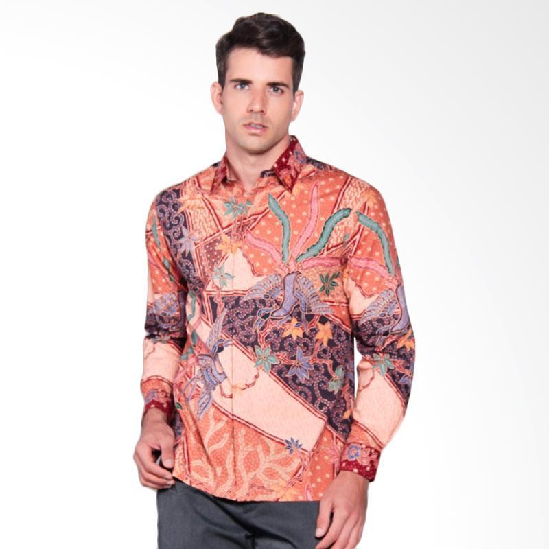 Batik Heritage Katun Premium Triangle Peacock Panjang Kemeja Batik Pria - Peach