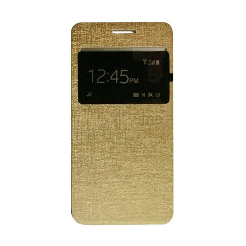 Ume Flip Case Flip Cover Window Casing for Andromax E2 Plus - Gold