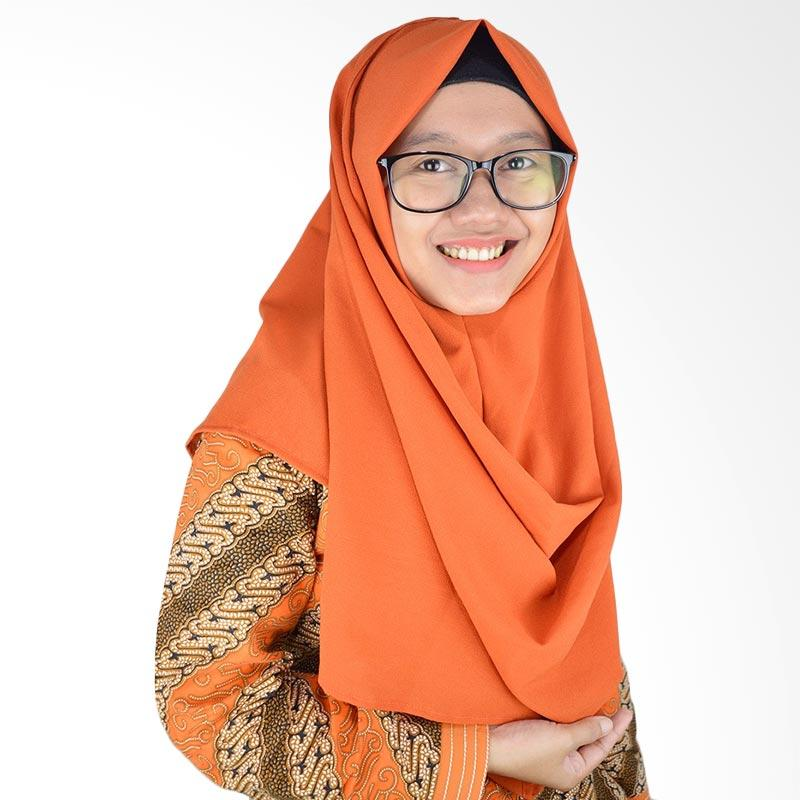AZMYA Polos 1 Lubang Pashmina Instan - Orange Cream