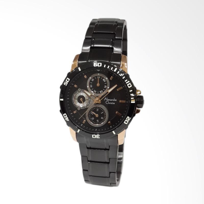 Alexandre Christie 6473BFBBRBA Stainless Steel Bracelet Jam Tangan Wanita - Black Rose Gold