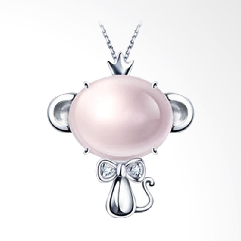 Tiaria 18K Crystal Monkey Perhiasan Emas & Berlian Liontin - Pink