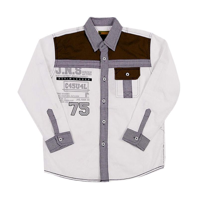 Woffi HK5-04-761 Casual Jeans Kemeja Panjang Atasan Anak Laki-Laki - Putih