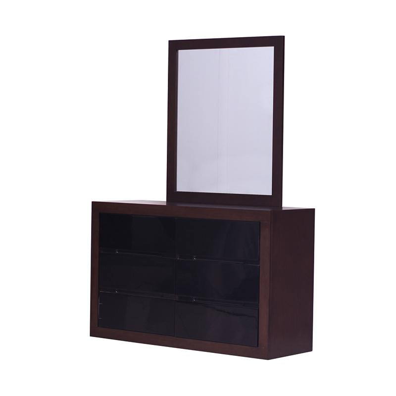 Thema Home 1107 Dresser & Mirror Cambridge - Walnut Black [Wilayah Surabaya]