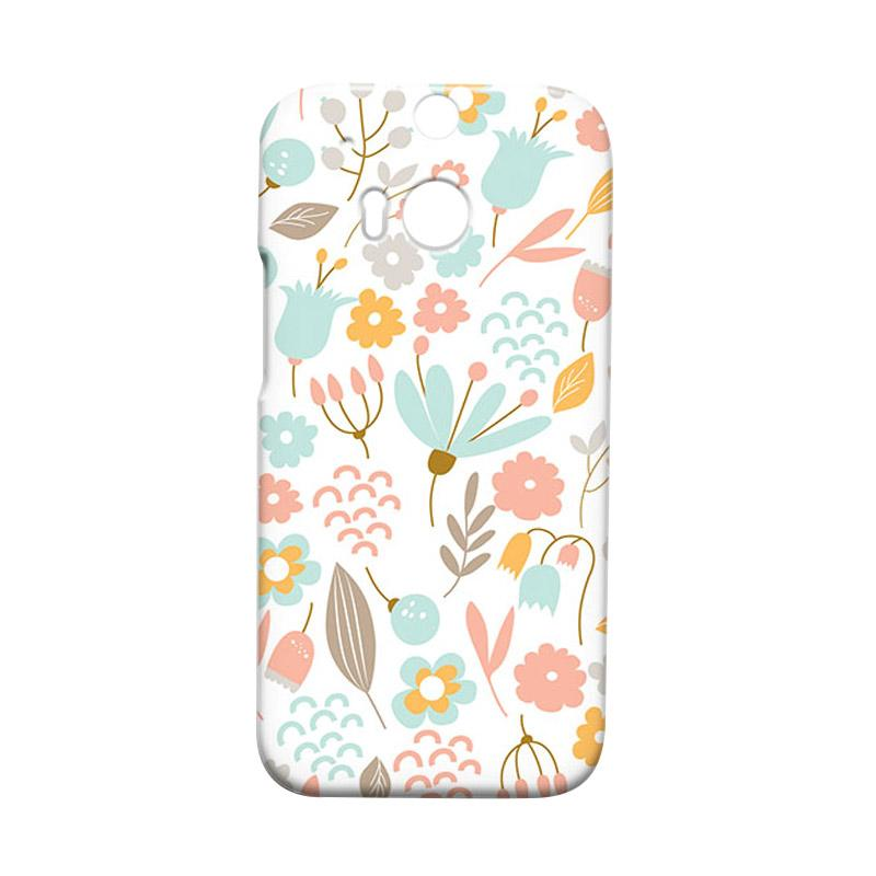 Premiumcaseid Cute Pastel Shabby Chic Floral Hardcase Casing for HTC One M8