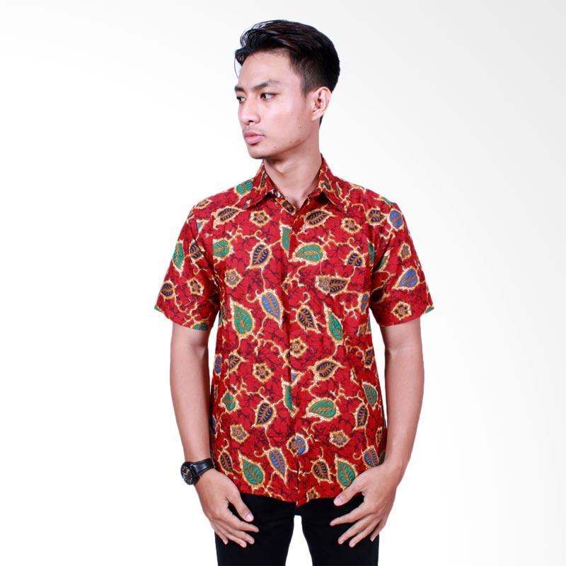 Batik Putri Ayu Solo Modern Katun Kemeja Batik Pria - Merah [KPD 513]