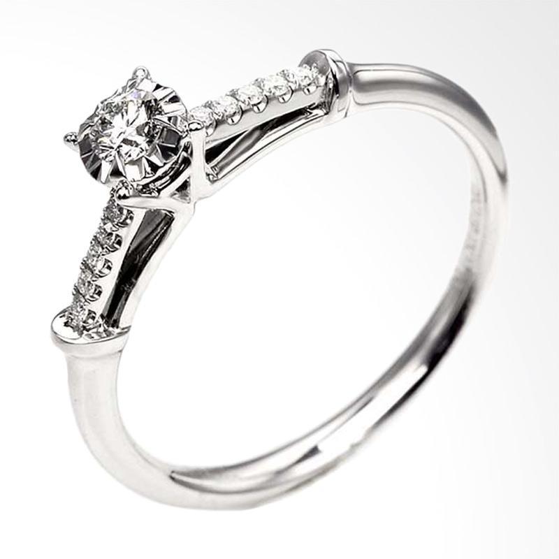 Tiaria Berlian Onyx Jewel Emas Cincin Perhiasan [18K]