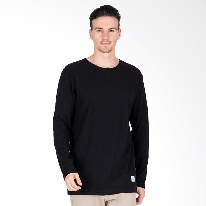 Tendencies Button T-Shirt Pria - Black