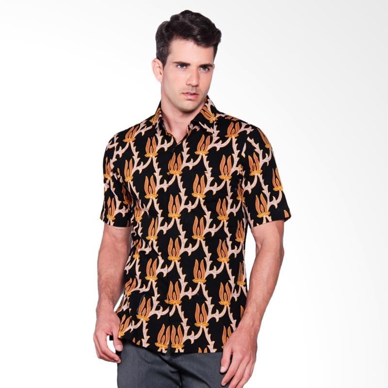 Batik Heritage Katun Premium Bunga Api Slim Fit Kemeja Batik Pria - Hitam